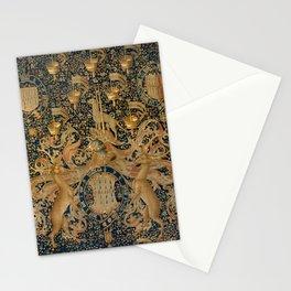 Vintage Golden Deer and Royal Crest Design (1501) Stationery Cards