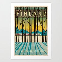 Finland Pendolino Rail, Vintage Style Travel Poster Art Print