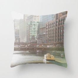 Chicago on Clark Street Throw Pillow