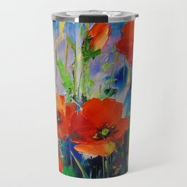 Poppies in a field Travel Mug