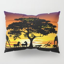 Wild Animals on African Savanna Sunset Pillow Sham