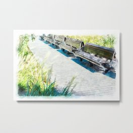 Urban Collection - Benches in the City. Vintage Watercolor Painting Style. Metal Print