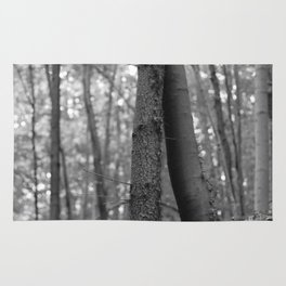 Old love, black and white photography trees Rug