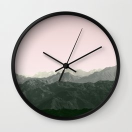 Mountains | Green + Pink Wall Clock