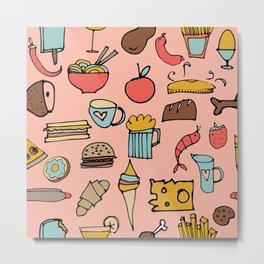 Food Frenzy pink Metal Print