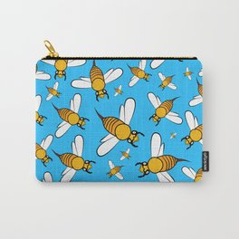 Bees pattern in blue Carry-All Pouch