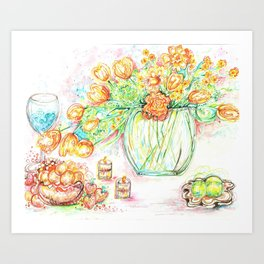 Yellow tulips in a bowl Art Print