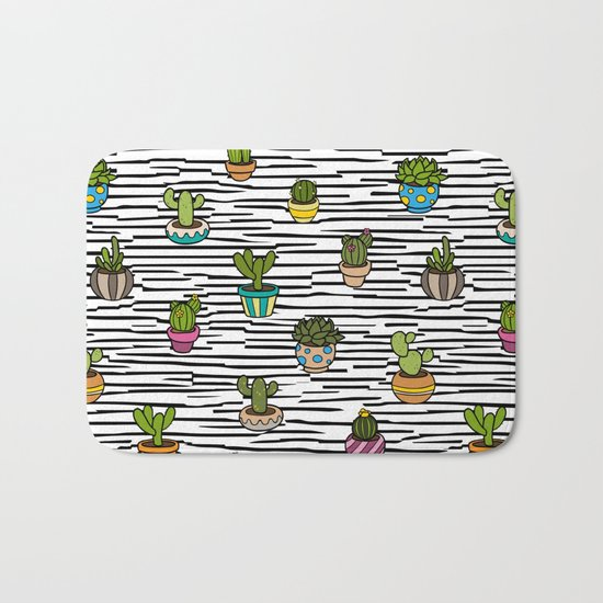 Cacti Pattern Bath Mat