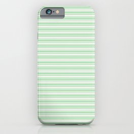 Pastel Green Horizontal Line Pattern 2 on Linen White Pairs to 2020 Color of the Year Neo Mint iPhone Case