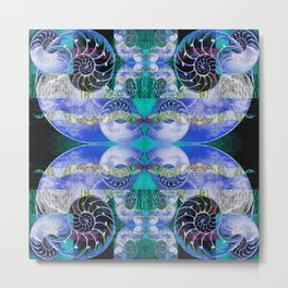 Brilliant Blue and Green Nautilus Fantasy Abstract Metal Print