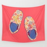 shoes Wall Tapestries featuring Flowery Shoes by Rabbits In The Sky