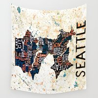 seattle Wall Tapestries featuring Seattle by Artful Schemes