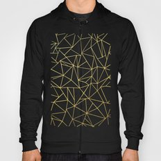 Abstraction Outline Gold on Black Hoody