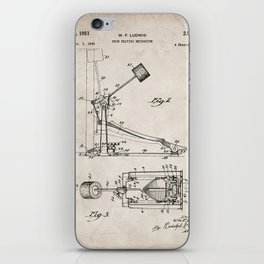 Drum Pedal Patent - Drum Set Art - Antique iPhone Skin