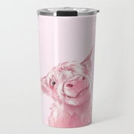 Highland Cow Pink Travel Mug