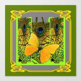 GREEN ART NOUVEAU BUTTERFLY PEACOCK PATTERNS Canvas Print