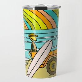 Retro Surf Days Single Fin Pick Up Truck Travel Mug