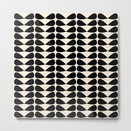 Mod Leaves Mid Century Modern Abstract Pattern in Black and Almond Cream Metal Print
