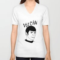 spock V-neck T-shirts featuring Mister Spock by Emmanuelle Ly