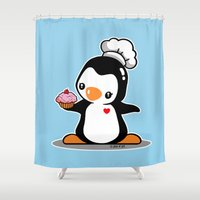 chef Shower Curtains featuring Chef Penguin by joanfriends