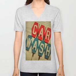 Retro Car Wash Sign Unisex V-Neck