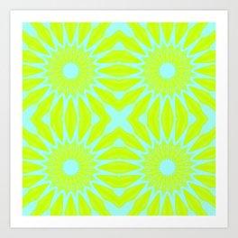 Green & Aqua Pinwheel Flowers Art Print