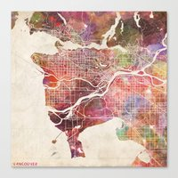 vancouver Canvas Prints featuring Vancouver by MapMapMaps.Watercolors