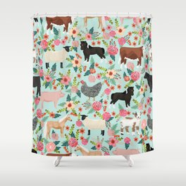 Farm animal sanctuary pig chicken cows horses sheep floral pattern gifts Shower Curtain