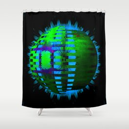 Green Layered Star in Aqua Flames Shower Curtain