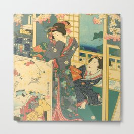 Spring Outing In A Villa Diptych #2 by Toyohara Kunichika Metal Print