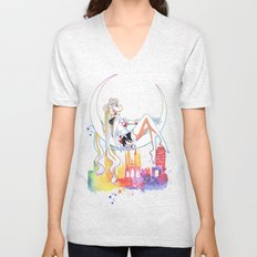 Can not Fight The Moonlight Watercolor Version Unisex V-Neck