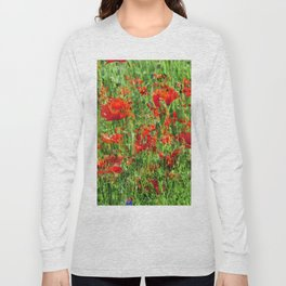 Red Floral Explosion Long Sleeve T-shirt