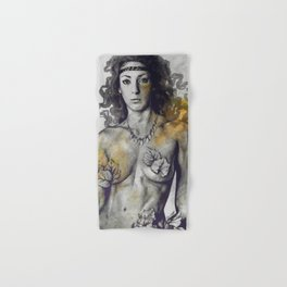 Colony Collapse Disorder: Gold (nude warrior woman with autumn leaves) Hand & Bath Towel
