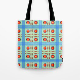 Striped light blue and green background with flowers kl Tote Bag