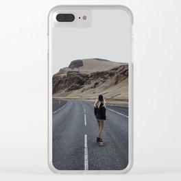 Longboarding Girl (Warm) Clear iPhone Case