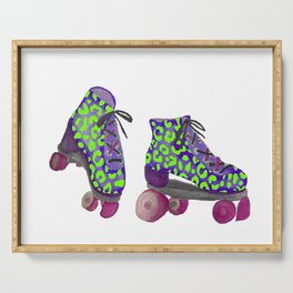 Neon Green Spotted Roller Skates Serving Tray