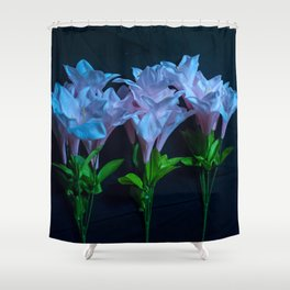 pink and blue flowers on black Shower Curtain