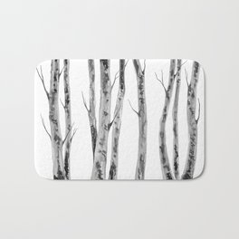 Birch Trees | Indian Ink Illustration | Canadian Art Bath Mat