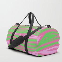 Punky Pink And Green Stripy Animal Print Duffle Bag