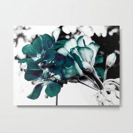 Dark Teal Flowers Metal Print