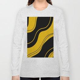 Uplifting abstract yellow black wavy lines Long Sleeve T-shirt
