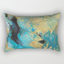 Fluid nature - Golden Sands -  Acrylic Pour Art Rectangular Pillow