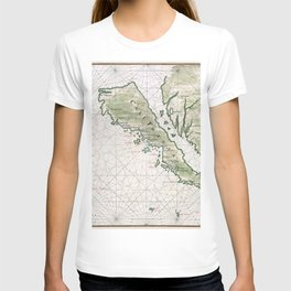Old Map Of California Island T-shirt