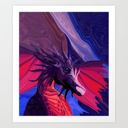 Jewel Toned Dragon of the Amethyst and Ruby Caverns Art Print