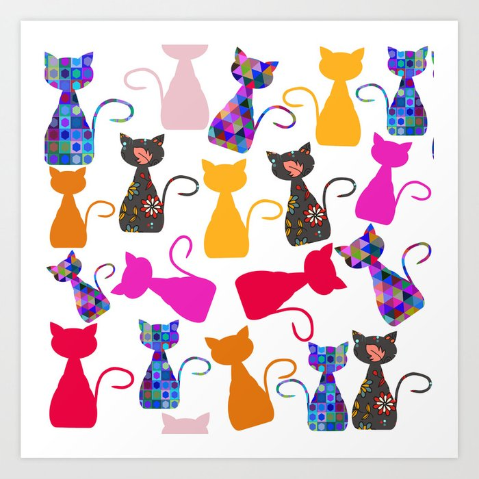 Cats pattern #4 Art Print