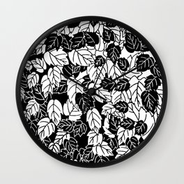 Japanese Leaf Print, Black and White Wall Clock