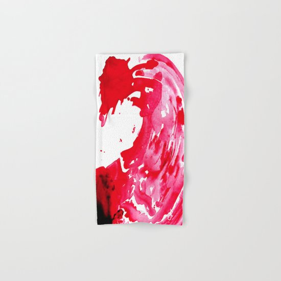 The One Who Came by Water and Blood. Watercolor Red Wave Hand & Bath Towel