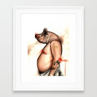 pig Framed Art Prints featuring pig by Andrei Moldovan