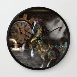 Steampunk, beautiful steampunk horse Wall Clock