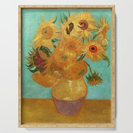 Vincent Van Gogh Twelve Sunflowers In A Vase Serving Tray